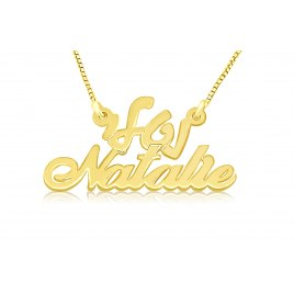 14K Gold Hebrew And English Name Necklace Script Letters