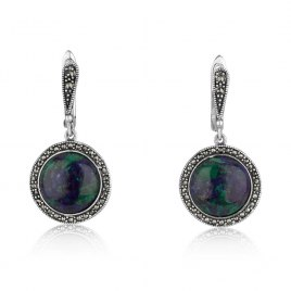 Marina Jewelry Eilat Stone Sterling Silver Marcasite Circle Dangle Earrings