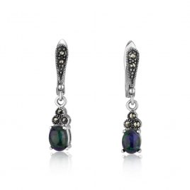 Marina Jewelry Eilat Stone Sterling Silver Marcasite Modern Dangle Earrings