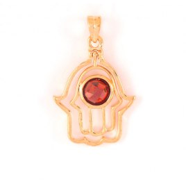 Marina Jewelry Gold Plated Double Hamsa Pendant With Garnet