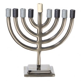 Classic Aluminium Hanukkah Menorah with Shades of Grey