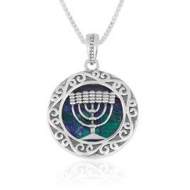 Marina Jewelry Sterling Silver Eilat Stone Menorah Necklace