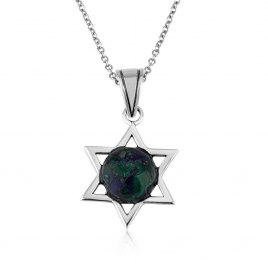 Eilat Stone Necklace Sterling Silver Star of David
