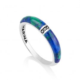Marina Jewelry Central Diamond Pattern Stripe Sterling Silver And Eilat Stone Ring