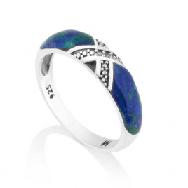 Marina Jewelry Crossed Diamond Pattern Stripes Sterling Silver And Eilat Stone Ring