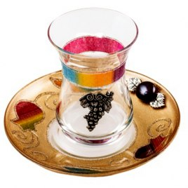 Lily Art Glass Kiddush Cup And Gold Saucer With Grapes And Rainbow Pomegranates