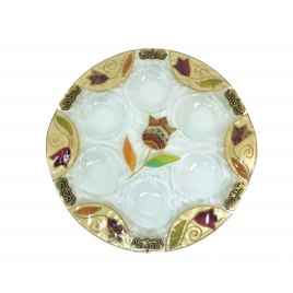Lily Art Hand-Painted Glass Seder Plate Marrakesh Pattern