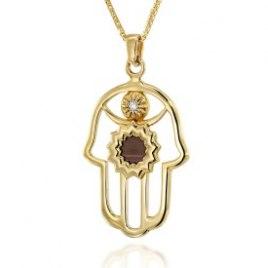 14K Gold Diamond Whole Bible Nano Jewelry Hamsa Pendant