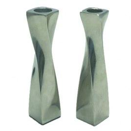 Twisted Design Aluminum Candlesticks Large