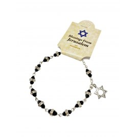 Marina Jewelry Black Glass Double Beaded Crystal Collared Rosary Bracelet With Star Of David