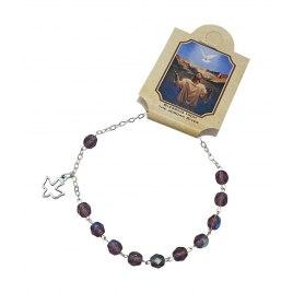 Marina Jewelry Amethyst Bead Rosary Bracelet With Dove