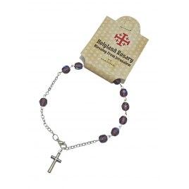 Marina Jewelry Amethyst Bead Rosary Bracelet With Cross