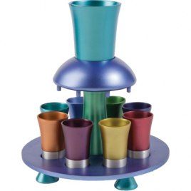 8 Cup Colorful Yair Emanuel Aluminum Kiddush Fountain