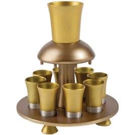 8 Cup Gold Colored Yair Emanuel Aluminum Kiddush Fountain