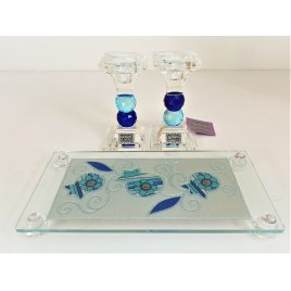 Glass Ball Shabbat Candlesticks and Tray Blue Pomegranate Design