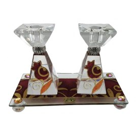 Angular Tapered Glass Shabbat Candlesticks and Tray