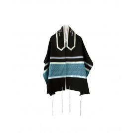 Galilee Silks Black Tallit with Turquoise Leaf Pattern Stripe