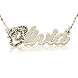 Sterling Silver And Zirconia Cursive English Name Necklace
