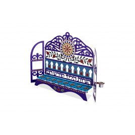 Dorit Judaica Hanukkah Candles Menorah Blue Pillars and Pomegranates Laser Cutout