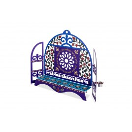 Dorit Judaica Hanukkah Candles Menorah Blue Flower and Pomegranates Dome Laser Cutout