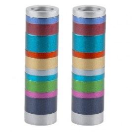 Shabbat Candlesticks Multicolor Stripes Cylinders by Yair Emanuel