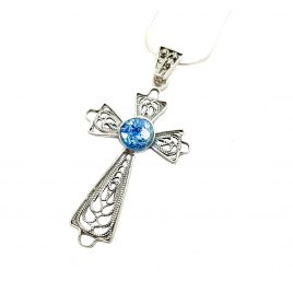 Delicate Filigree Cross Silver and Roman Glass