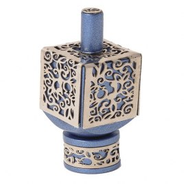 Blue Aluminium Dreidel with Cutout pomegranate Theme
