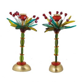 Yair Emanuel Green and and Red Candlesticks Fountain Design