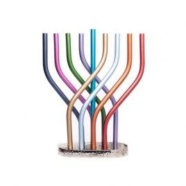 Yair Emanuel Wavy Branch Colorful Hanukkah Menorah