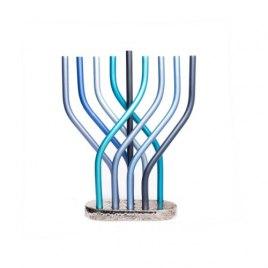 Yair Emanuel Wavy Branch Blue Hanukkah Menorah