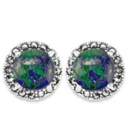 Marina Jewelry Circular Eilat Stone Sterling Silver Marcasite Earrings