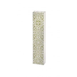 Acrylic Green Mezuzah with white Floral Pattern by Dorit Judaica
