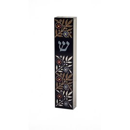 Acrylic Black Mezuzah with Floral Pattern by Dorit Judaica