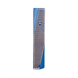 Blue Mezuzah with Diagonal Cutout Star of David
