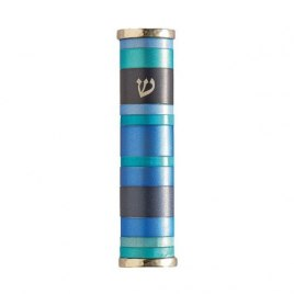 Emanuel Judaica Blue Aluminum Rings Mezuzah Case with Shin