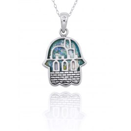 Silver Jerusalem Hamsa Pendant with Roman Glass