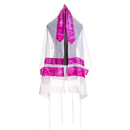 Galilee Silks White Prayer Shawl with Hand Painted Pink Stripes
