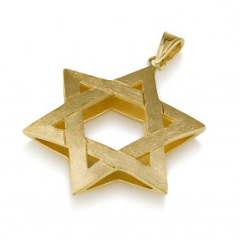 14K Bruched Gold Star of David Necklace Interwoven 3D Design