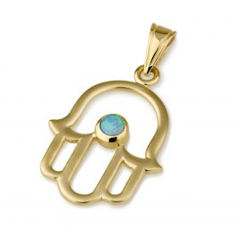 14K Gold Classic Hamsa Pendant with Opal Stone