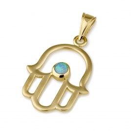 14K Gold Classic Hamsa Pendant with Opal Stone