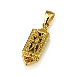 14K Gold Rectangular Mezuzah Pendant with Yemenite Filigree