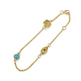 14K Yellow Gold Charms Bracelet with Dreidel and Evil Eye