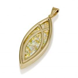 Ben Jewelry 14K Gold Roman Glass Marquise Ichthus Pendant