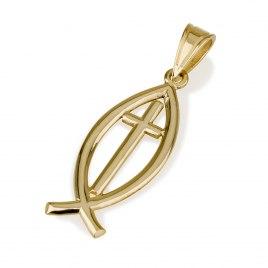 Ben Jewelry 14K Gold Roman Glass Ichthus Cross Pendant