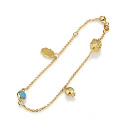 14K Yellow Gold Charms Bracelet with Dreidel Evil Eye and Hamsa