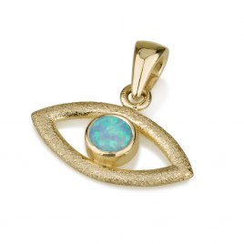 14K Gold Evil Eye Pendant Set with Opal Stone