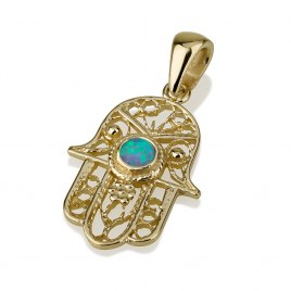 14K Filigree Gold Hamsa Necklace with Opal Stone