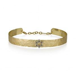 14K Gold and Diamonds Star of David Bangle Bracelet