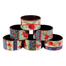Yair Emanuel Printed Pomegranate Wood Napkin Ring Set (6)