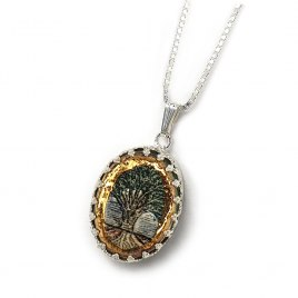 Handmade Silver and Ceramic Tree of Life Necklace with 24k Gold